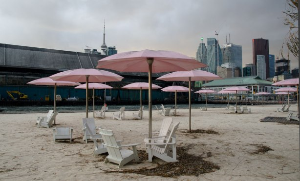 Sugar beach with its white chairs and pink umbrellas is in the foreground. The Toronto skyline is in the background, including the CN tower.