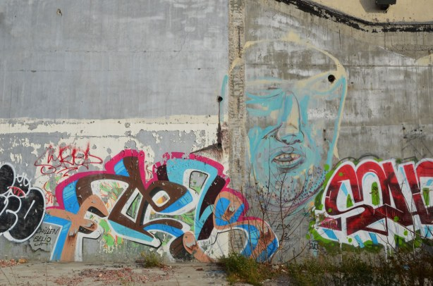 graffiti on the back of the Tower Automotive building, a tall brick building - a large light blue face with tags on either side of it.