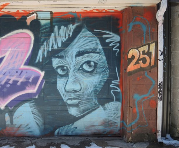 graffiti face, white on black, on one half of a garage door.  The number 251 is painted in oranges and yellows as well.