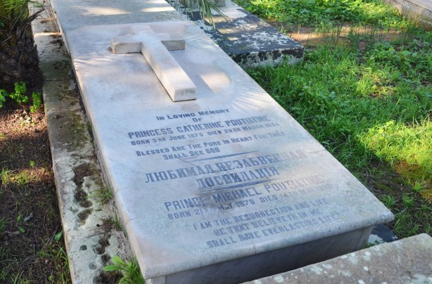 tombstone of Prince Catherine Poutiatine and Prince Michael Poutiatine who are burined in a Malta cemetery.