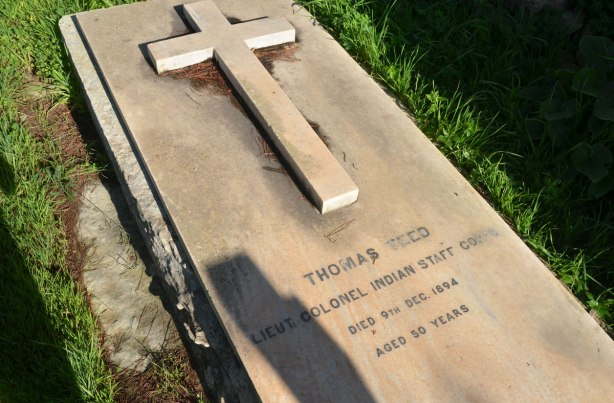 tombstone in a cemetery Thomas Teed of the Indian Army who died in 1894