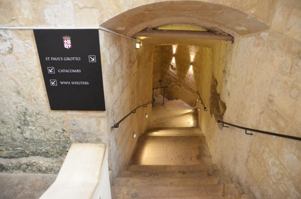 entrance to St. Pauls grotto, stairs in the limestone going down