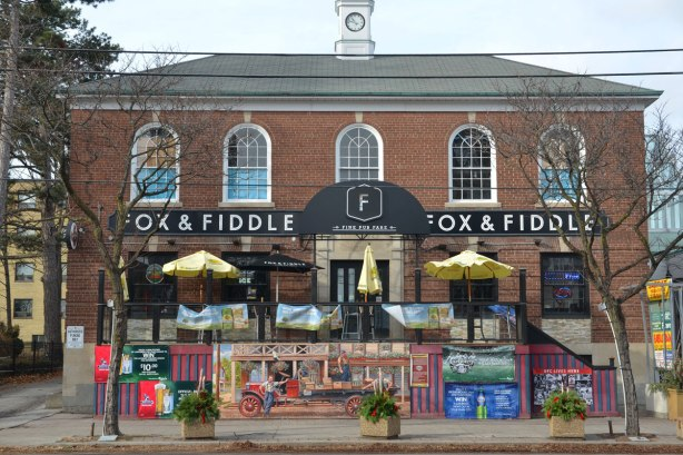 Fox and Fiddle bar, a two storey brick building,