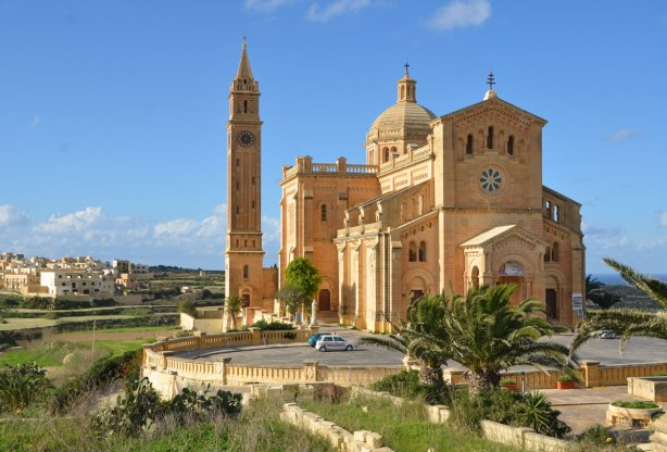 National Shrine of the Blessed Virgin of Ta' Pinu, Gozo, closer view from a front corner,