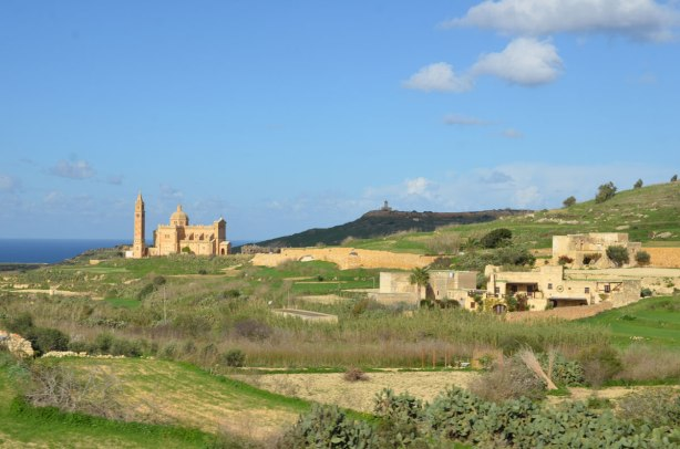 looking across the fields of Gozo to National Shrine of the Blessed Virgin of Ta' Pinu