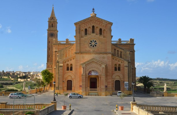 front view of the limestone church, National Shrine of the Blessed Virgin of Ta' Pinu, Gozo,