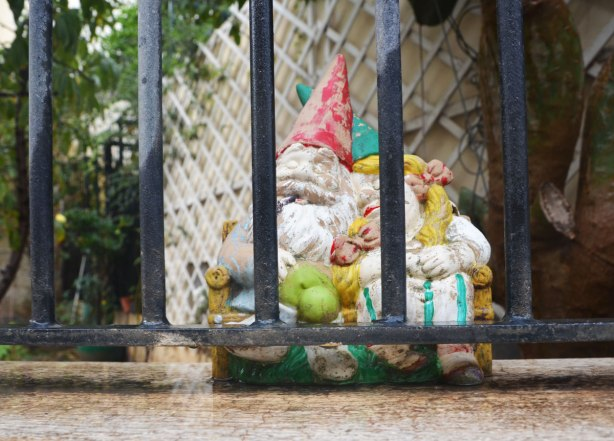 A little garden gnome couple are cuddling by a black metal fence.