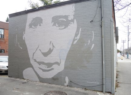 mural of a very large grey and white face on the side of a brick building