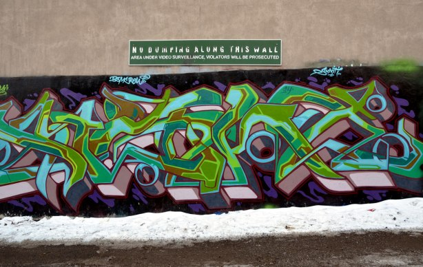 graffiti tag in greens and purples on a wall on a snowy day.  Above the tag is a weathered sign that is peeling but it can still be read - No Dumping Along this wall.