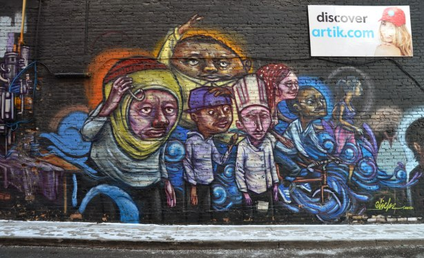Mural of a group of people, one in a chef's outfit, one on a bike,