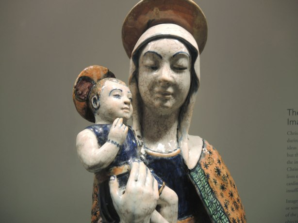 ceramic (or glazed terracotta?) sculpture of mother and child, Mary and Jesus.
