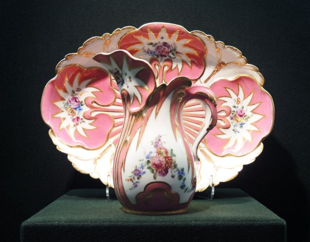 1757 Sevres ewer (water jug) and basin in pink and white with a tiny bit of blue, floral patterns