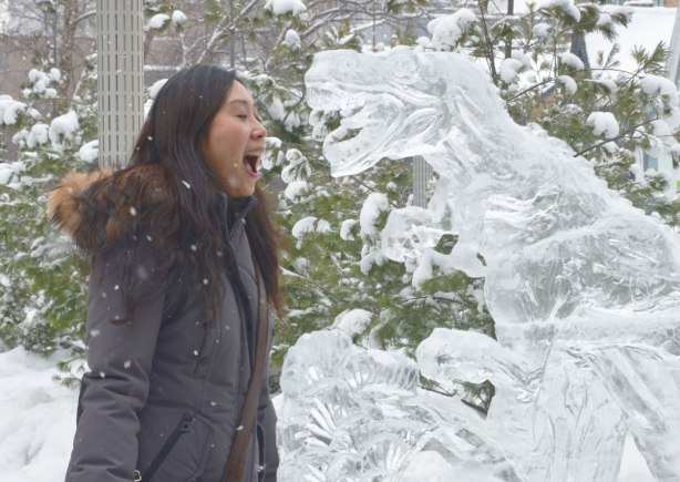 A woman is facing a sculpture of a dinosaur.  Both of them have their mouths wide open.