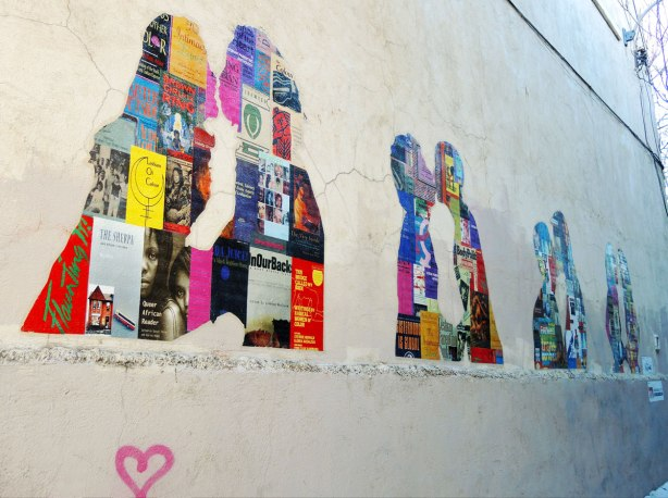 silhouettes of four couples either kissing or close together talking.  The silhouettes are collages of prints of book covers.