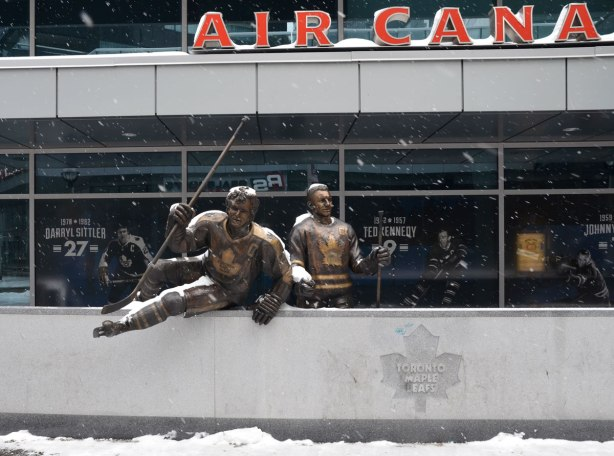 Bronze statues of Maple Leafs Darryl Sittler and Ted Kennedy in front of the Air Canada Center.