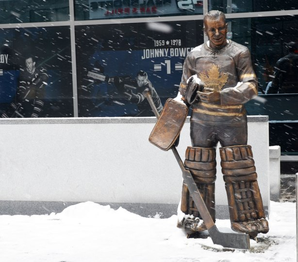 bronze statue of Maple Leaf goalie Johnny Bower in his goalie uniform