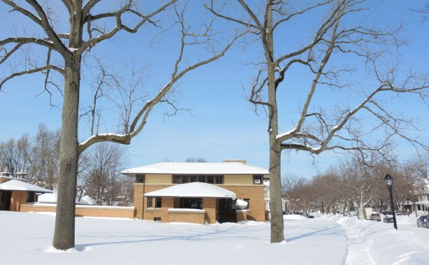 view of the side of a house in winter, with two large trees in front of it. Sidewalk, snow banks too.
