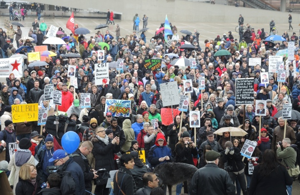 crowd shot at a protest