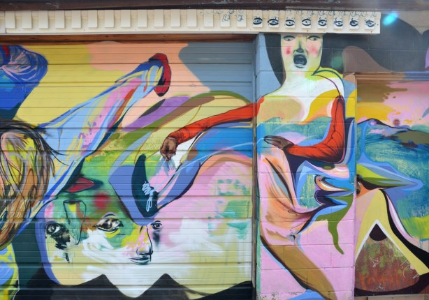 street art painting on a garage door in a laneway, a woman with open mouth under a row of eyes