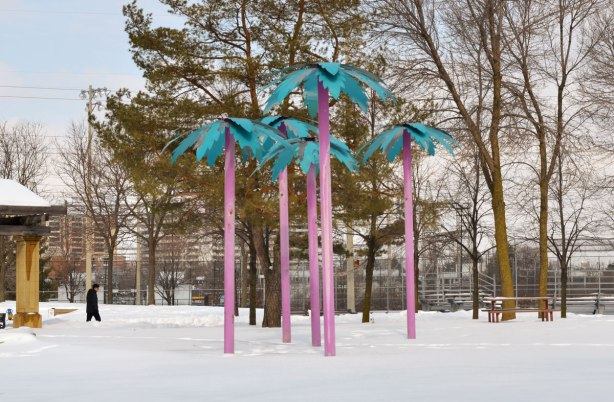 A park in winter with some large trees including a willow tree.  Some picnic benches are covered in snow, there are apartment buildings in the background.  There are also 5 fake palm trees with tall skinny magenta trucks and bright blue, almost turquoise, palms.  Art in the park.  Close up photo of the group of palm trees.