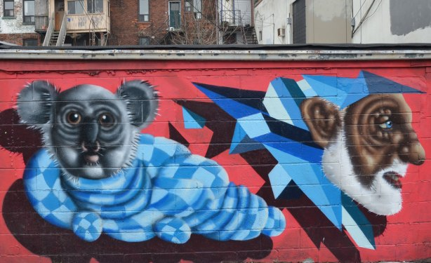 mural by birdo, red background,  a  man's head and an creature with an animal face and a body that looks like a blue checked sweater