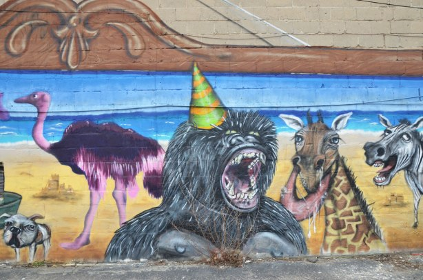Destination Mammals Cabana mural, purple ostrich, screaming baboon and a giraffe,