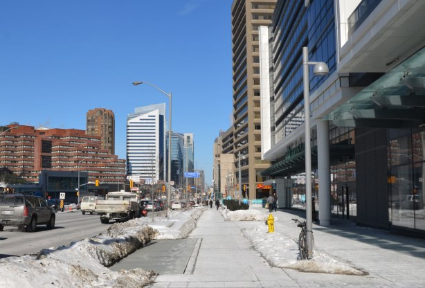view looking north on Yonge St.  from just south of Sheppard Ave.