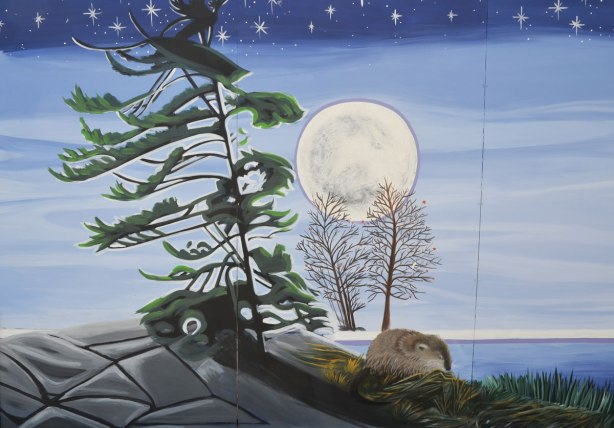 part of a First Nations story/legend themed mural painted on wood construction hoardings in Allan Gardens, pine tree on a rock by a lake, under a full moon lit night sky