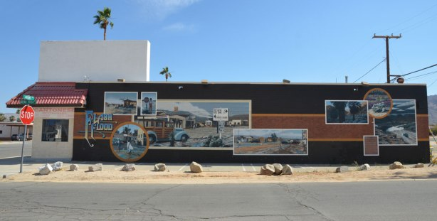 Whole mural showing scenes of a flash flood that passed through the town of Twentynine Palms.