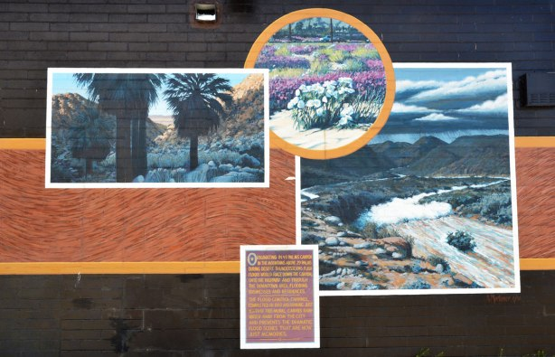 The right side of a mural showing scenes of a flash flood that passed through the town of Twentynine Palms.