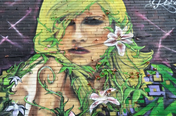 Mural painting of a large woman's face.  She has yellow and green hair.  There are white and pink lilies in the picture too.