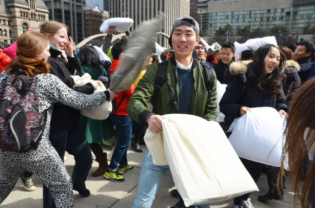 people at a pillow fight
