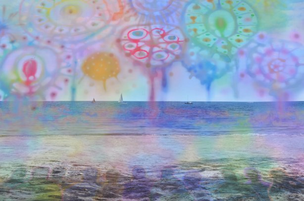 close up of the lake in a Very large photograph of a beach scene with sailboats out on the horizon and trees on both sides, superimposed with whimsical drawings of circles and swirls in blues, purples, greens, reds and yellows