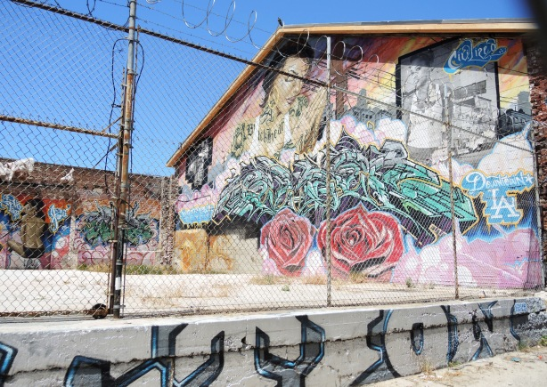 "Mural behind a chain link fence with a coil of barbed wire above it. Mural is of two women's faces, two red roses, a greenish tag and the words ""downtown LA"""