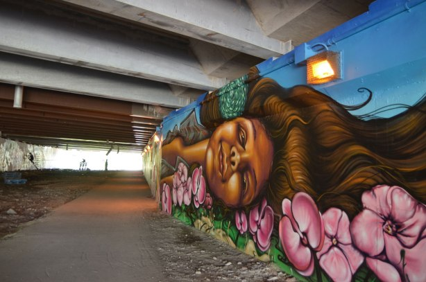 part of a mural on a concrete wall under a bridge under the 401 in Toronto, looking along the length of the wall with a woman's head lying on a bed of pink flowers in the foreground.