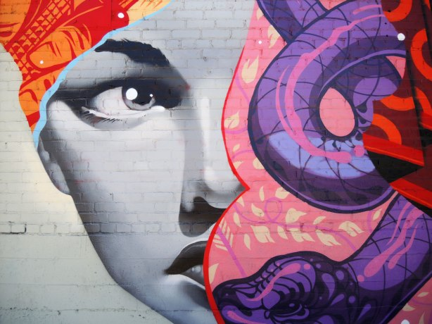 Close up of a woman's face, part of a mural on East 4th Street in Los Angeles.   There is also a purple snake in the picture. Larger than life size.