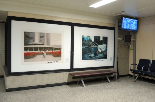 large photographic prints on display at Union Station