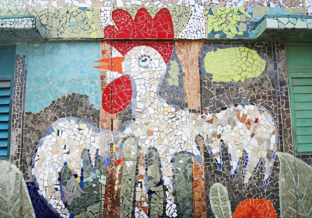mosaic picture of a white rooster, part of a larger mosaic