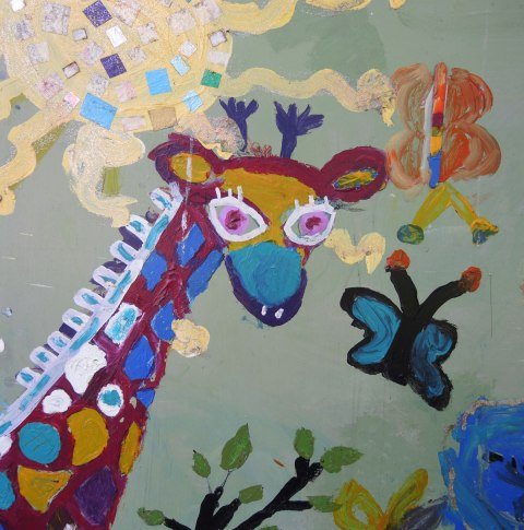 giraffe and two butterflies