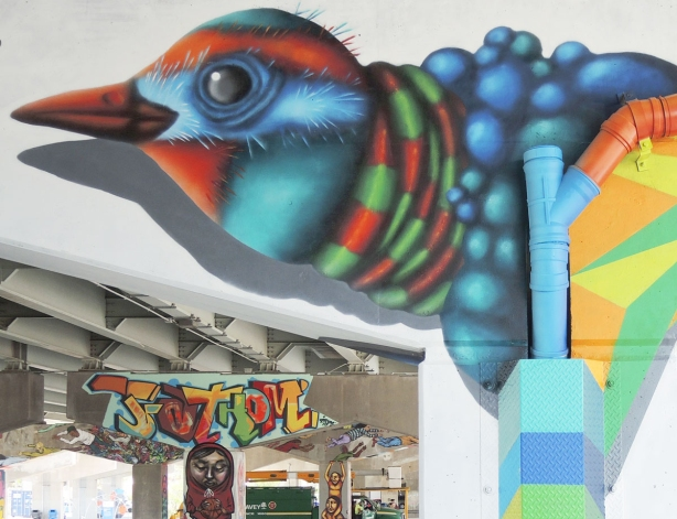head of a colourful birdo bird with other street art in the background