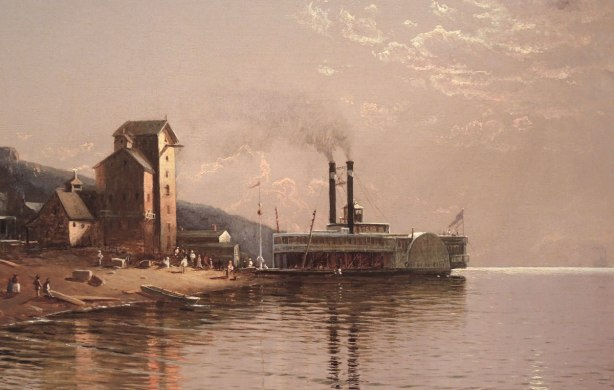 close up of part of an oil painting showing an old paddle wheel steam boat on a river
