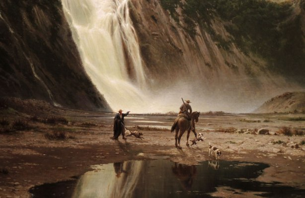close up of part of a painting - Montmorency Falls by Guido Carmignani 1869, Italian hunters at the base of the falls (even though they are in Quebec) in summer time.