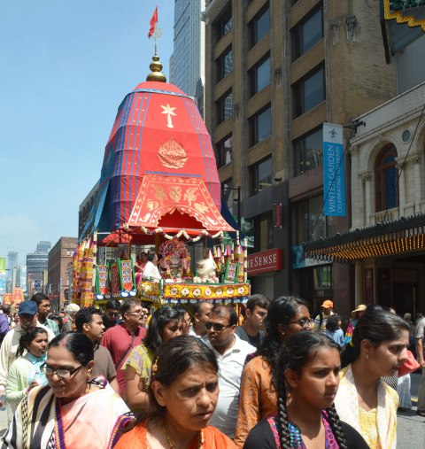 float in a parade for the Festival of India, or the Chariot Festival, a Hindu celebration, in downtown Toronto