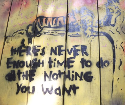 graffiti and street art in Graffiti Alley in Toronto - a stencil that looks like a Calvin and Hobbes cartoon, both characters are sitting on a tree branch, Hobbes is stretched out and sleeping, Calvin is sitting.  THe words 'There's never enough time to do all the nothing you want