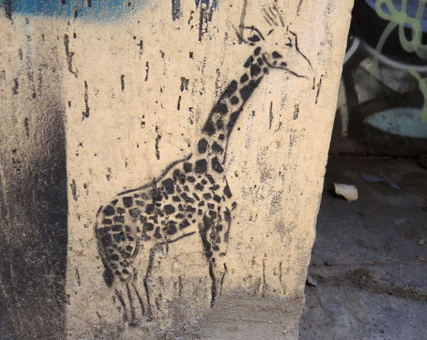 small graffiti piece of a giraffe standing on the ground, on concrete, in an alley