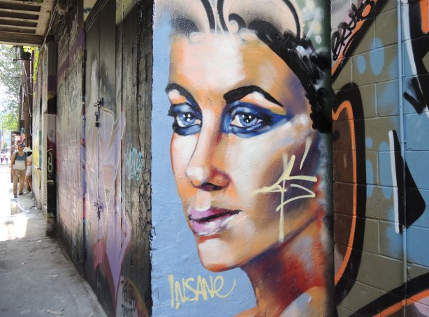 woman's face in profile painted on a wall in an alley