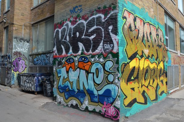 tags in an alley