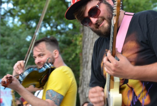 Dr. Draw and his backup guitar player, streetfest at the beach,