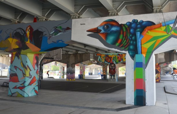 picture of art (mural) on a concrete support holding up a road above a skateboard and basketball park - in the foreground is a pillar with a birdo bird on it.  Many other supports in the background along with a young man on a skateboard