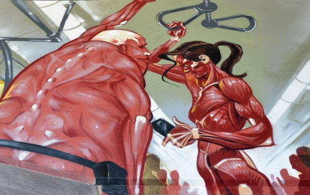 part of a street art painting showing two people standing on the suway holding onto the handles from the ceiling.  Both are shown as muscle layer as outer layer of body, i.e. no skin.  A man and a woman.